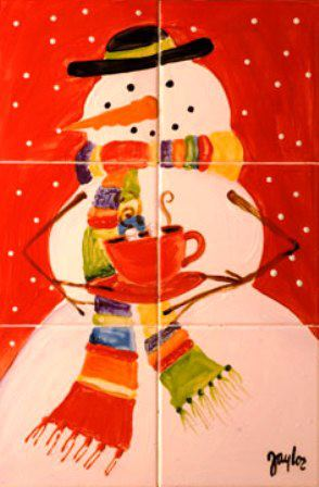 tile art snow man red